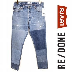 NWT RE/DONE Levi's High Waist Patched Jeans, 28